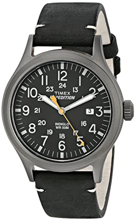 76512f73f32b Amazon.com  Timex Men s TW4B01900 Expedition Scout Black Leather ...