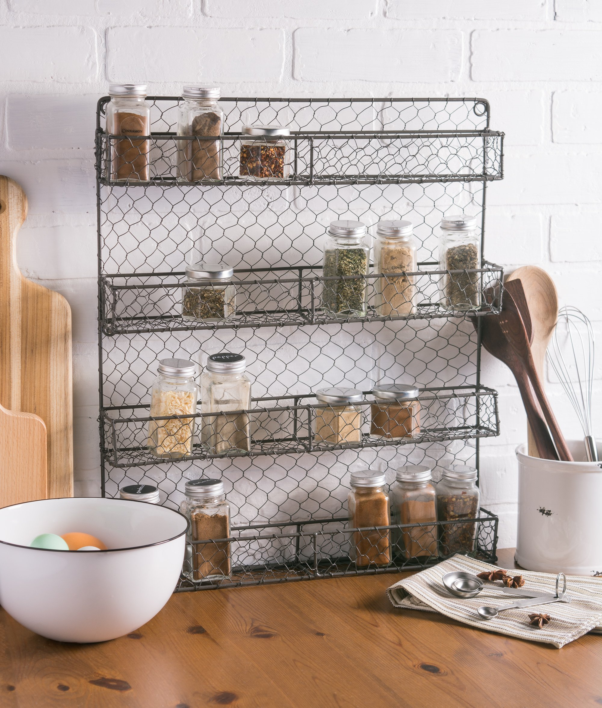 DII Z01445 Farmhouse Vintage Spice Rack Wall Mounted Chicken Wire ...