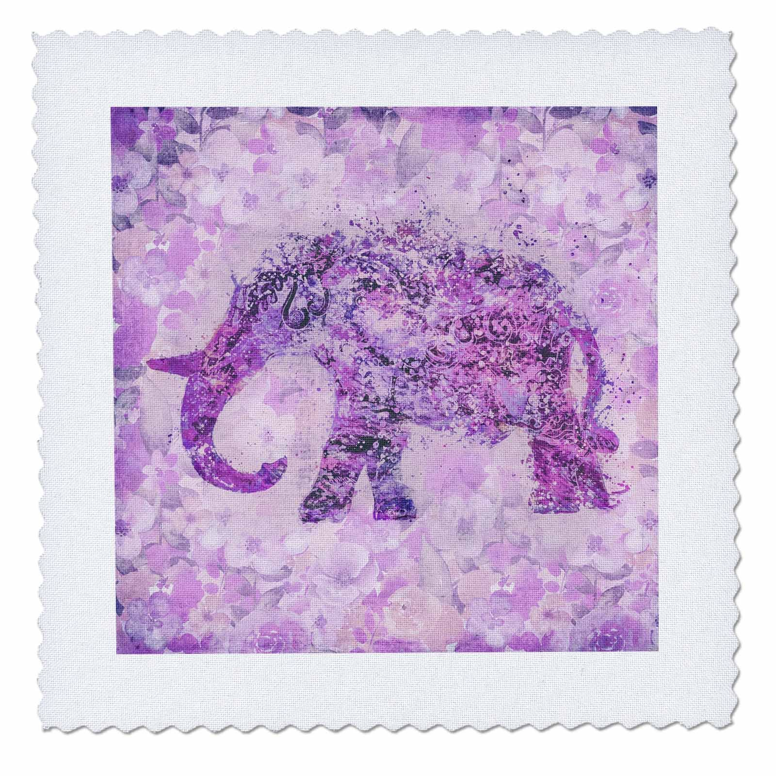 3dRose Andrea Haase Animals Illustration - Floral Elephant Illustration In Soft Purple Pastels - 22x22 inch quilt square (qs_276224_9)