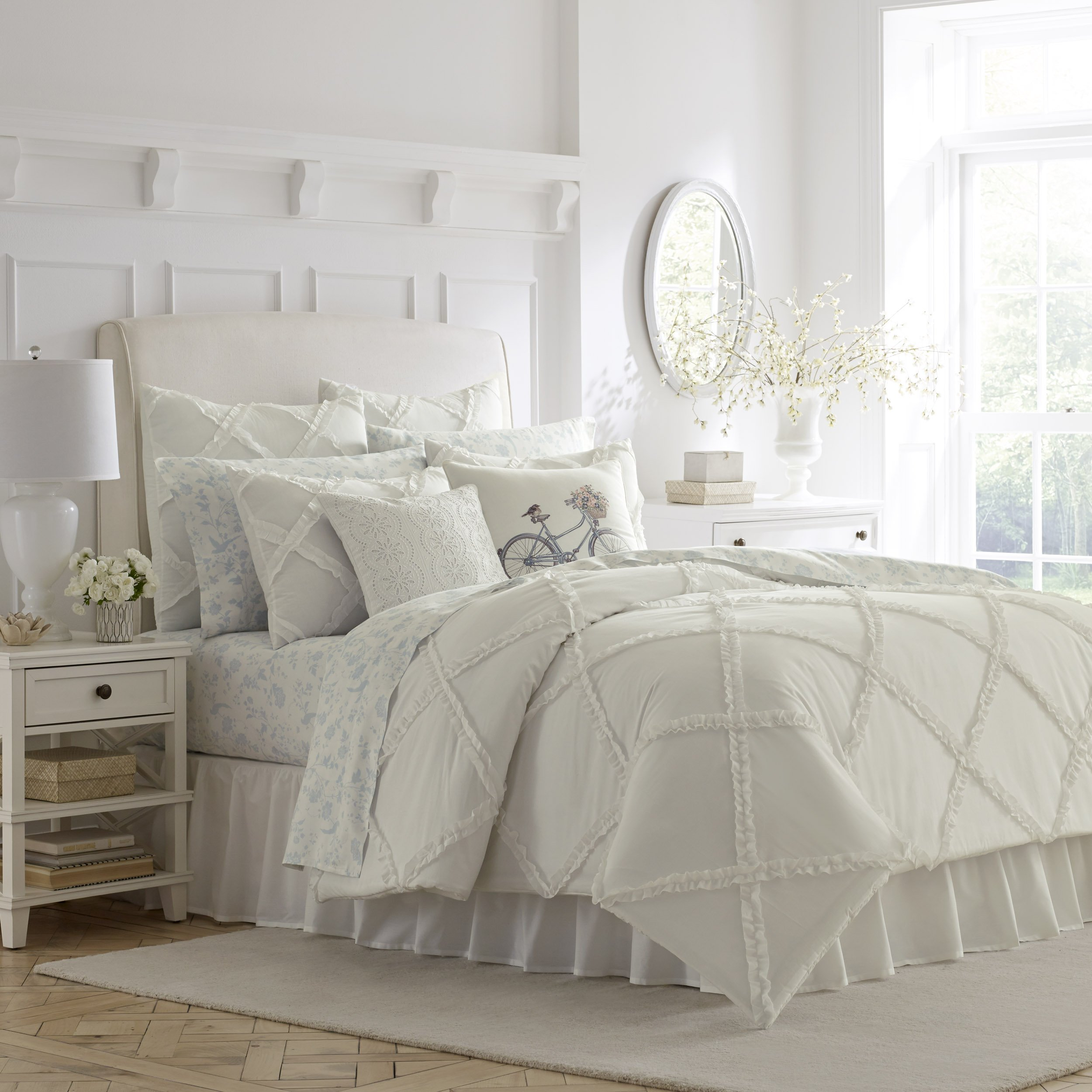 Laura Ashley Adelina White Ruffle Duvet Cover Set, Full/Queen