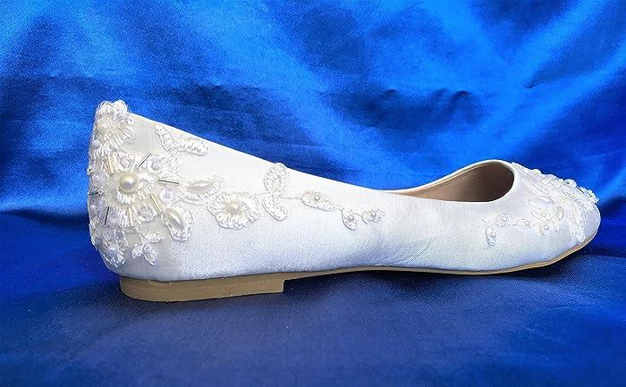 Satin Flat Wedding Shoes For Bride Flats, Flat Bridal Shoes, Wedding Shoes  Flats,
