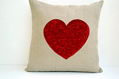 Amazon Com Amore Beaute Handmade Custom Ivory White Burlap Heart Pillow Cover With Passionate Red Sequins Decorative Cushion Embroidered Throw 16x16 Pillows Home Kitchen