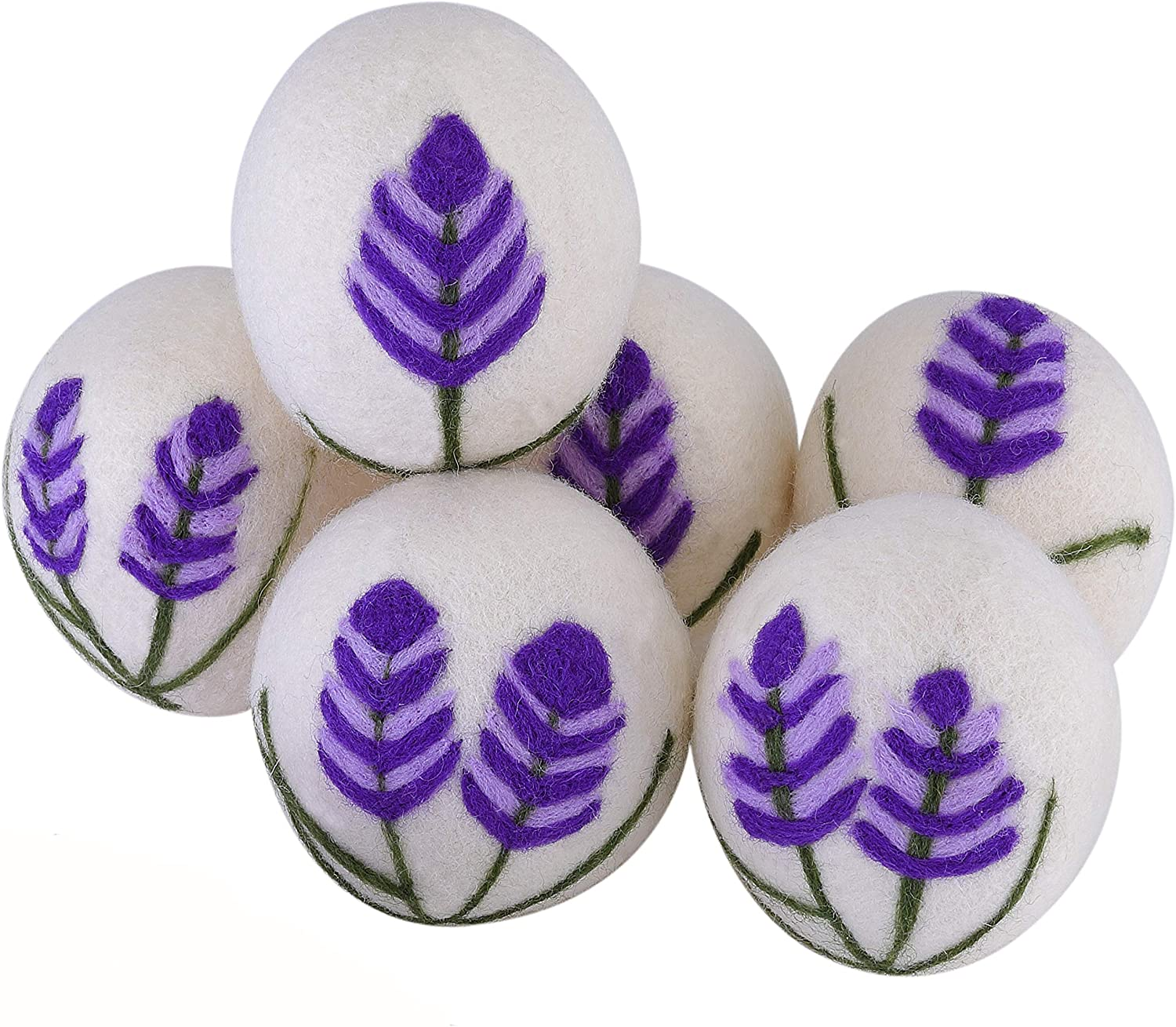 6 French Lavender Wool Dryer Balls, Unscented Organic Baby-Safe Fabric Softener, Pet Hair Remover,Fur Removal Clean Lint Catcher Eco Laundry Balls Wrinkle Release Anti Static,Gifts for Mom(Purple)