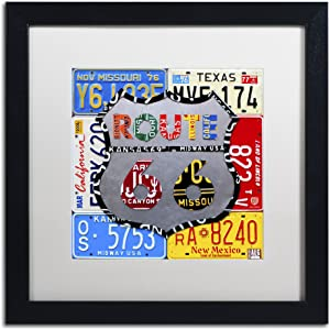 Route 66 Road Sign by Design Turnpike, White Matte, Black Frame 16x16-Inch