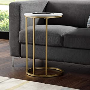 """WE Furniture AZF16RCSTWM Side Table 16"""" Faux White Marble/Gold"""