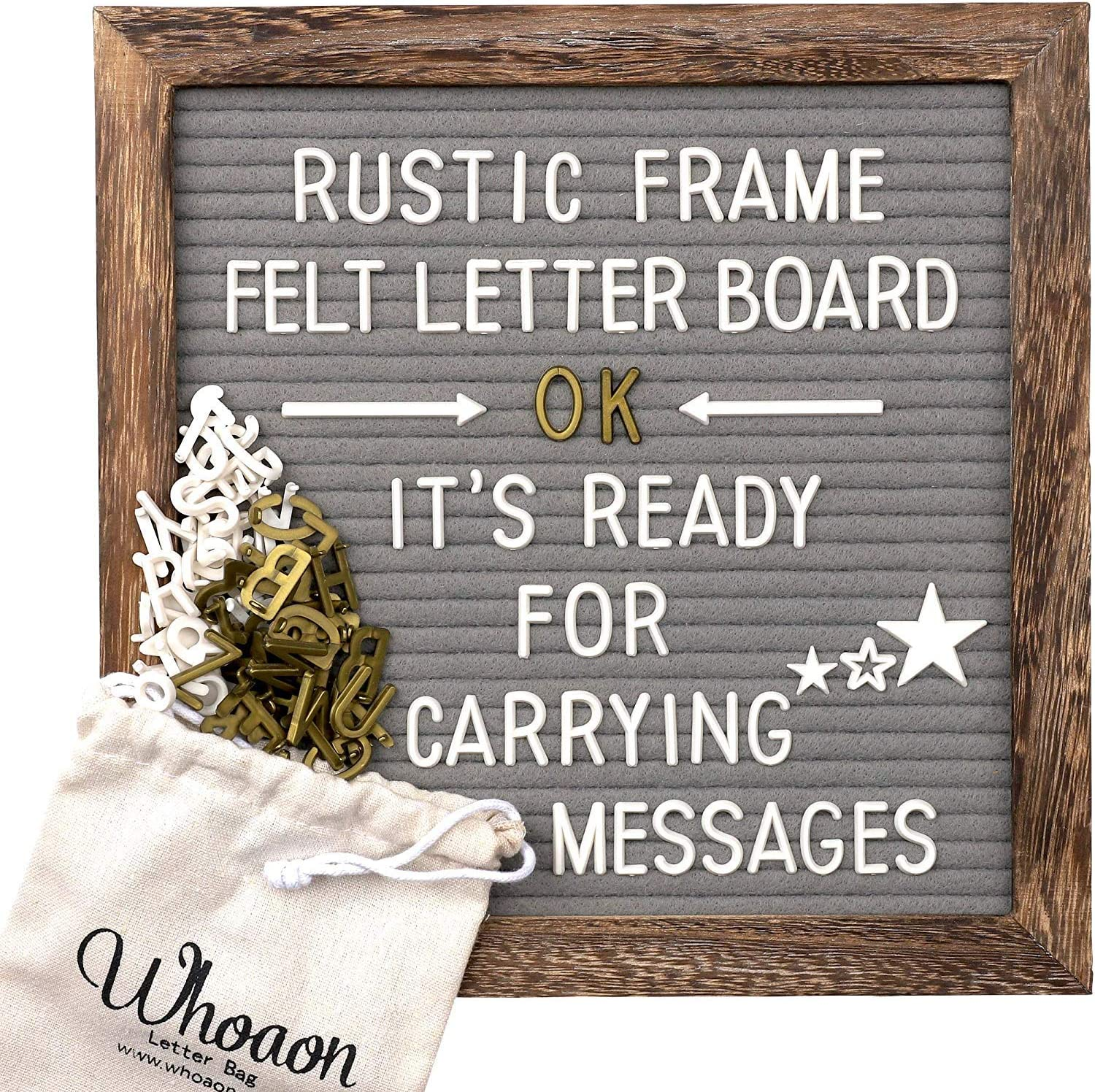 Rustic Wood Frame Gray Felt Letter Board 10x10 inches. Pre-Cut White & Gold Letters, Months & Days Cursive Words, Additional Symbols & Emojis, 2 Letter Bags, Scissors, Vintage Stand. by whoaon