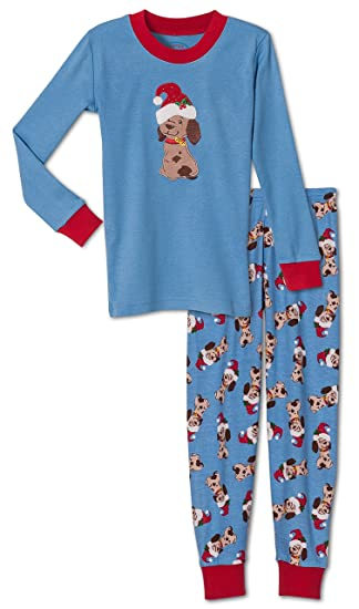 c0326c3f33d76 Amazon.com: Sara's Prints Unisex, Christmas Puppy 2-Piece Pajama ...