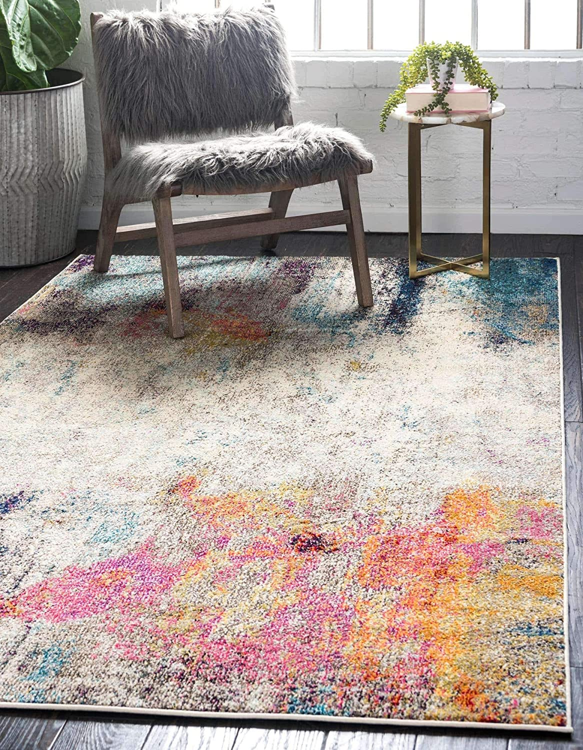 Unique Loom Chromatic Collection Modern Abstract Rustic Area Rug, 7' x 10', Beige/Pink