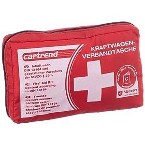 Cartrend 7730042 Trousse de premiers secours, rouge, DIN 13164, avec les mesures d'urgence de premiers secours selon Malteser