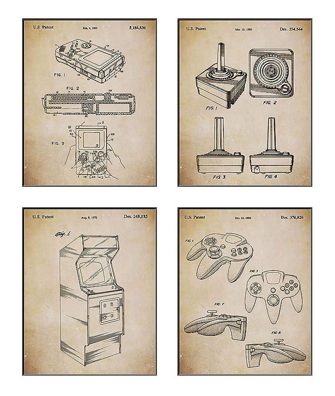 Amazon.com: Juego de 4 carteles de videojuegos (8 x 10) con ...