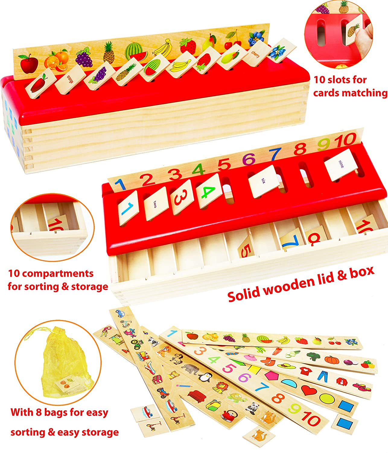 Wooden Lid Total Sorting Box with Sorting Lid - with 99 pieces- 8 Categories Total 80 Objects-Eductional and Fun B007P3Y5WY, HONEY ME EYES:0429381c --- loveszsator.hu