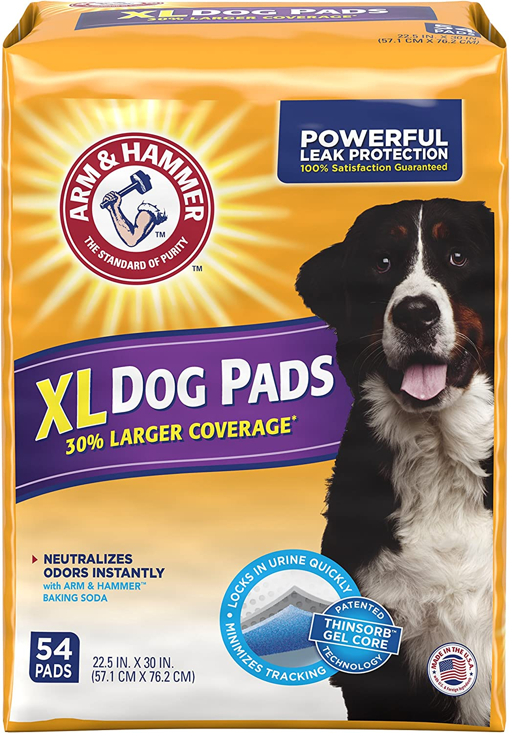 Arm & Hammer 54 Count Puppy Training Pads with Baking Soda, X-Large/30