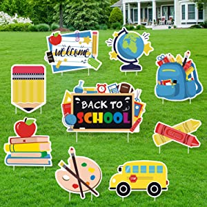 Huray Rayho Back to School Yard Signs with Stakes First Day of School Yard Decorations Classroom Cutouts Welcome Back Outdoor Lawn Decor Colorful School Yard Ornaments Party Supplies Set of 9
