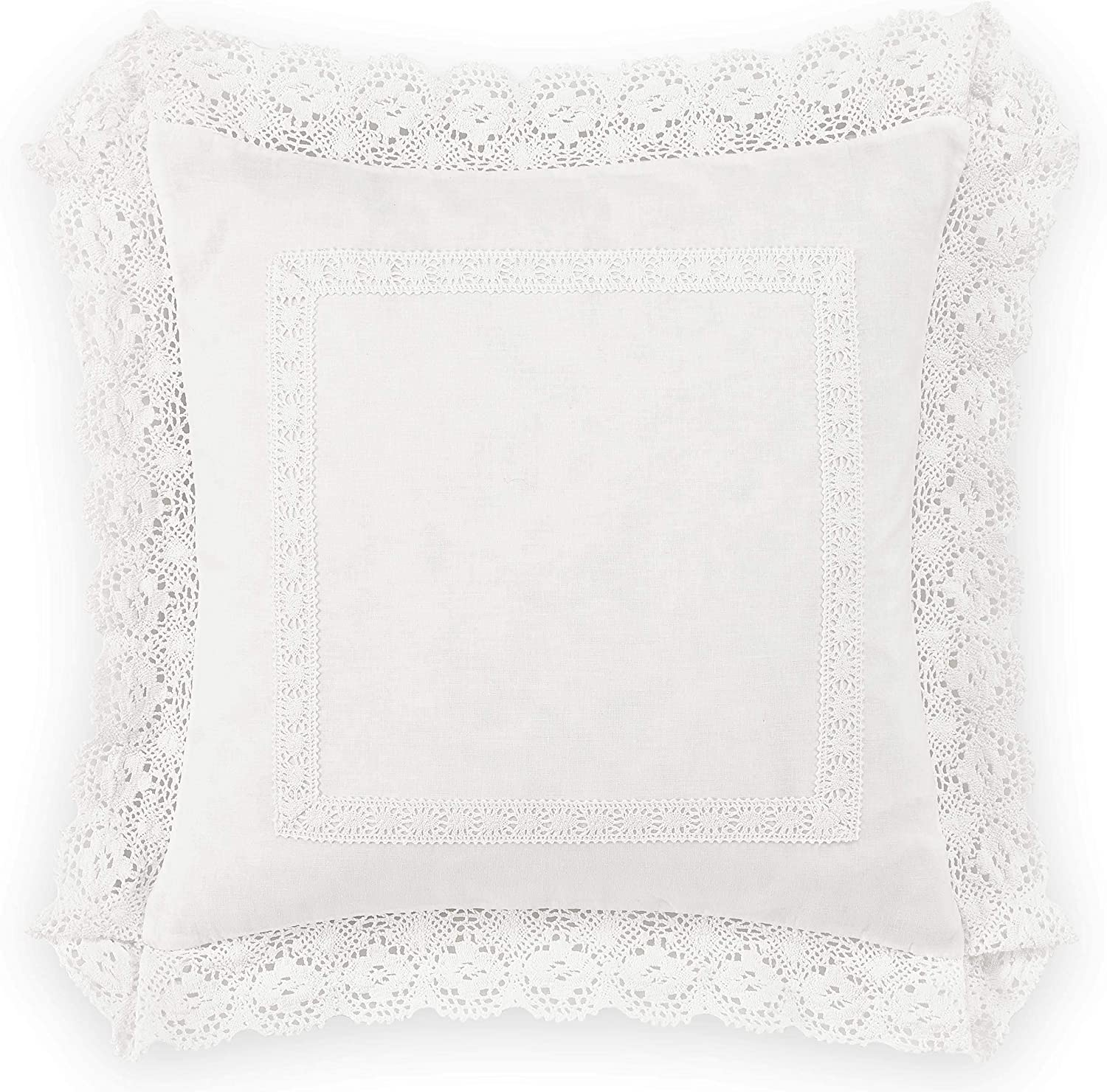 Laura Ashley Home Annabella Collection Perfect Decorative Throw Pillow, Premium Designer Quality, Decorative Pillow for Bedroom Living Room and Home Décor, 18x18, White