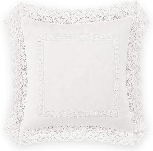 Laura Ashley Home Annabella Bedding Collection Perfect Decorative Throw Pillow, Premium Designer Quality, Decorative Pillow for Bedroom Living Room and Home D cor, 18 inch, White