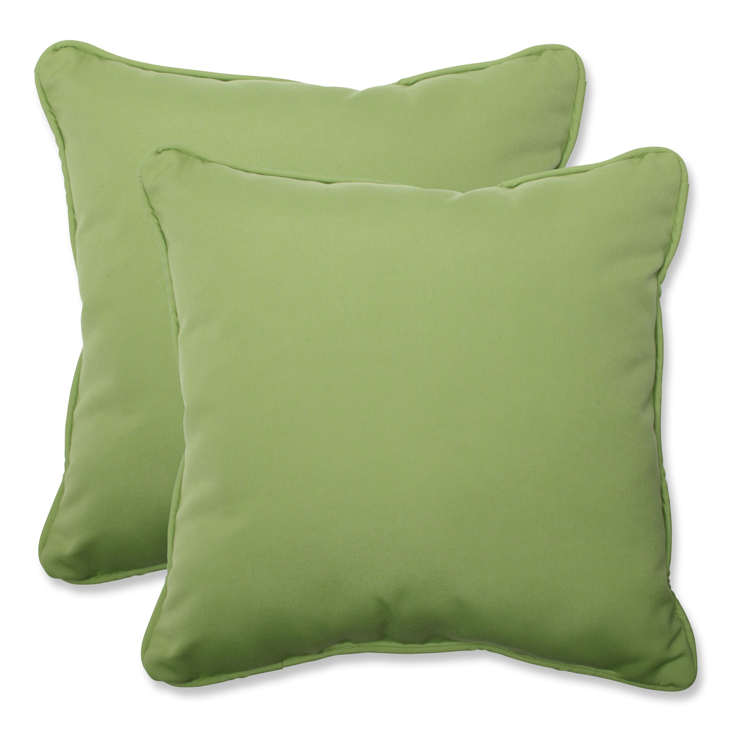 Pillow Perfect Indoor/Outdoor 18.5-inch Throw Pillow (Set of 2) with Sunbrella Canvas Ginkgo Fabric, 18.5 in. L X 18.5 in. W X 5 in. D