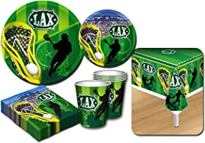 Deluxe Lacrosse (LAX) Theme Party Supplies Set for 20 People, Includes 20 Large Plates, 20 Small Plates, 20 Napkins, 20 Cups & 2 Table Covers - Perfect for Gameday or Birthday (82 Pieces Total)
