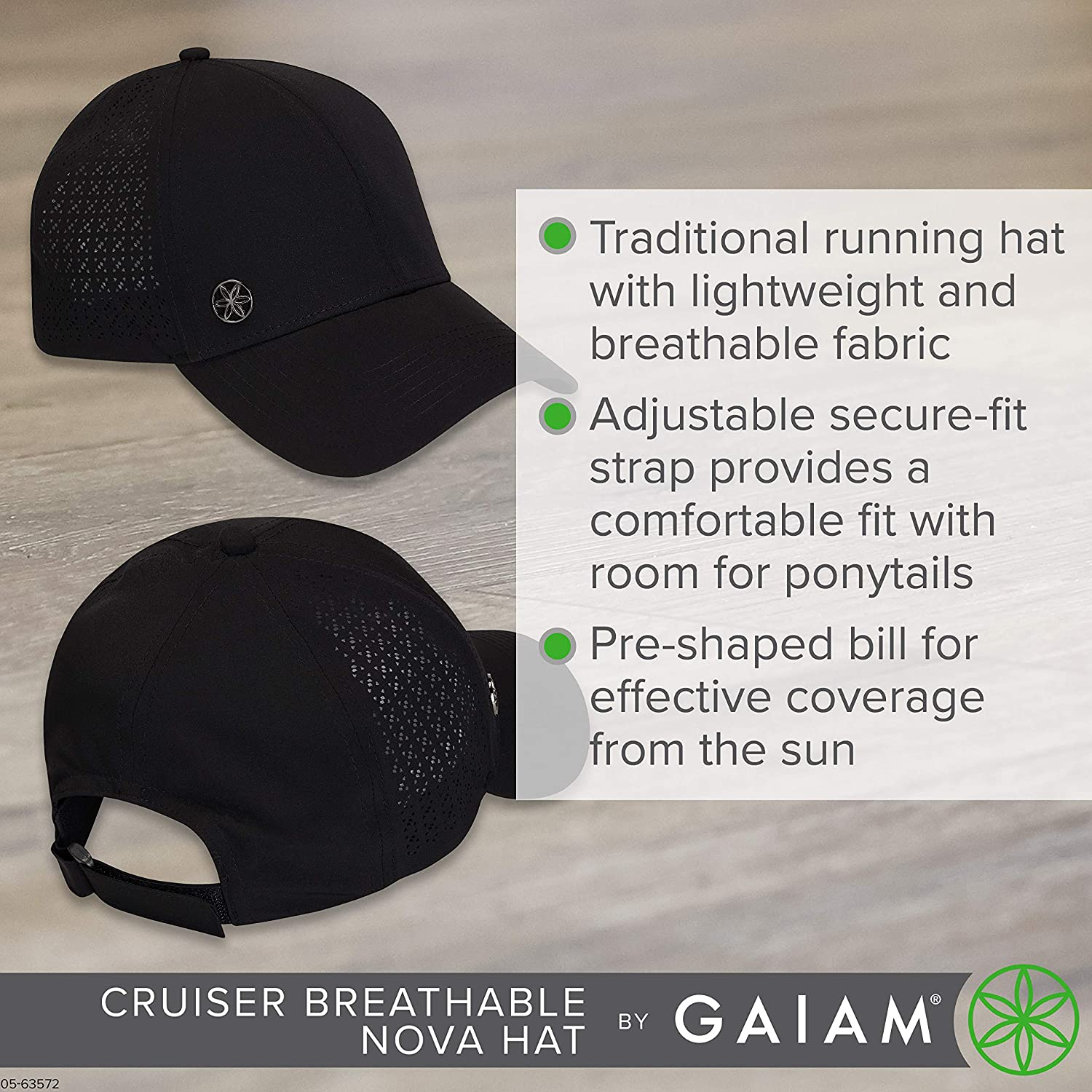 Pre-Shaped Bill Adjustable Size - Multiple Colors Breathable Trucker Style Ball Cap Outdoors, Baseball, Sun, Hiking, Yoga, Golf, Tennis, Sports /& Fitness Gaiam Running Hat for Women /& Men