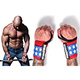 American Flag Wrist Wraps by RIMSports - Ideal Wrist Straps for Gym, Powerlifting, Bodybuilding - Premium Wrist Straps Weightlifting - Best Wrist Wrap for Lifting Weight Women & Men