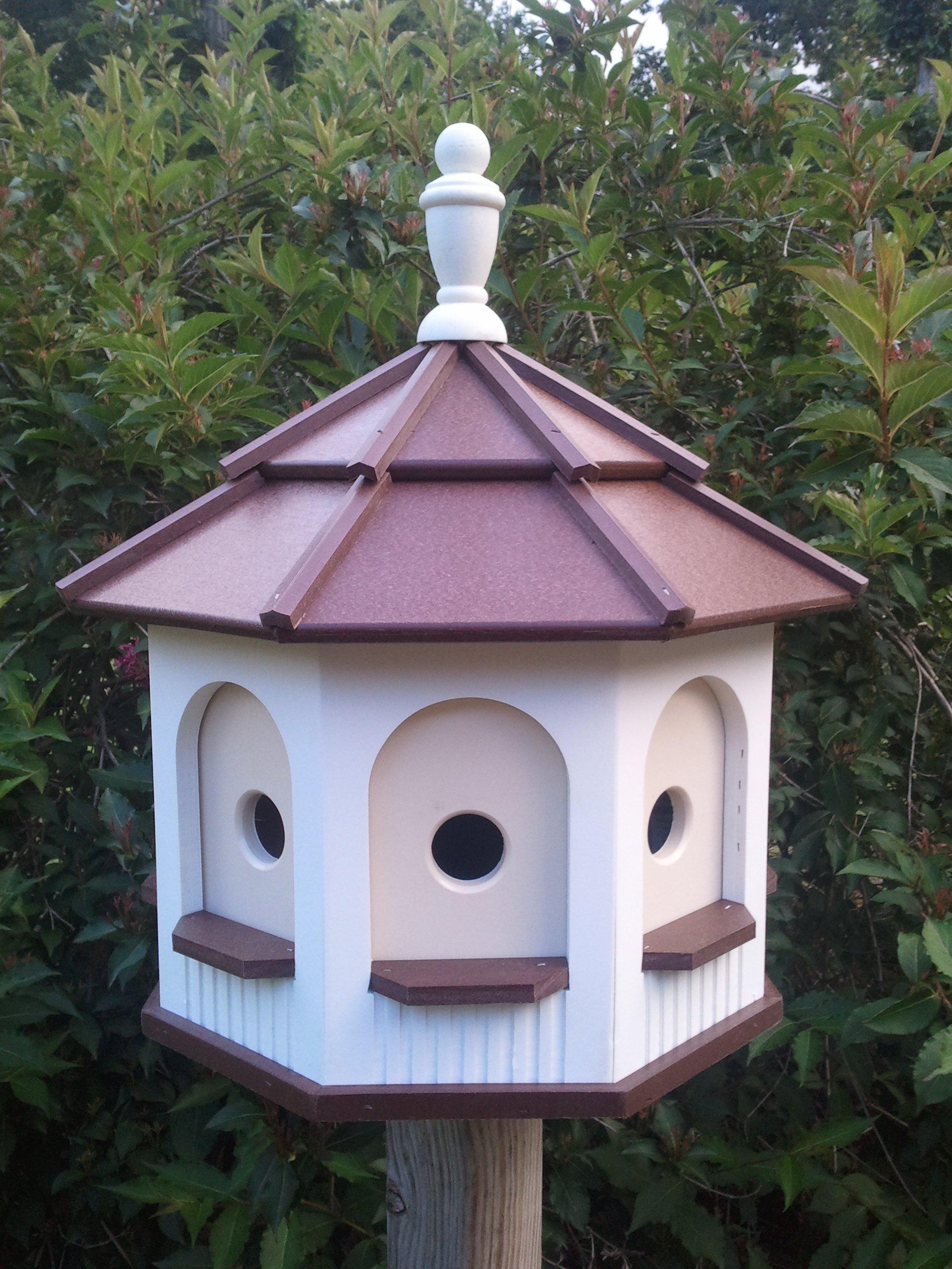 Amish homemade handcrafted Handmade Poly Gazebo Birdhouse yard White & Brown Large