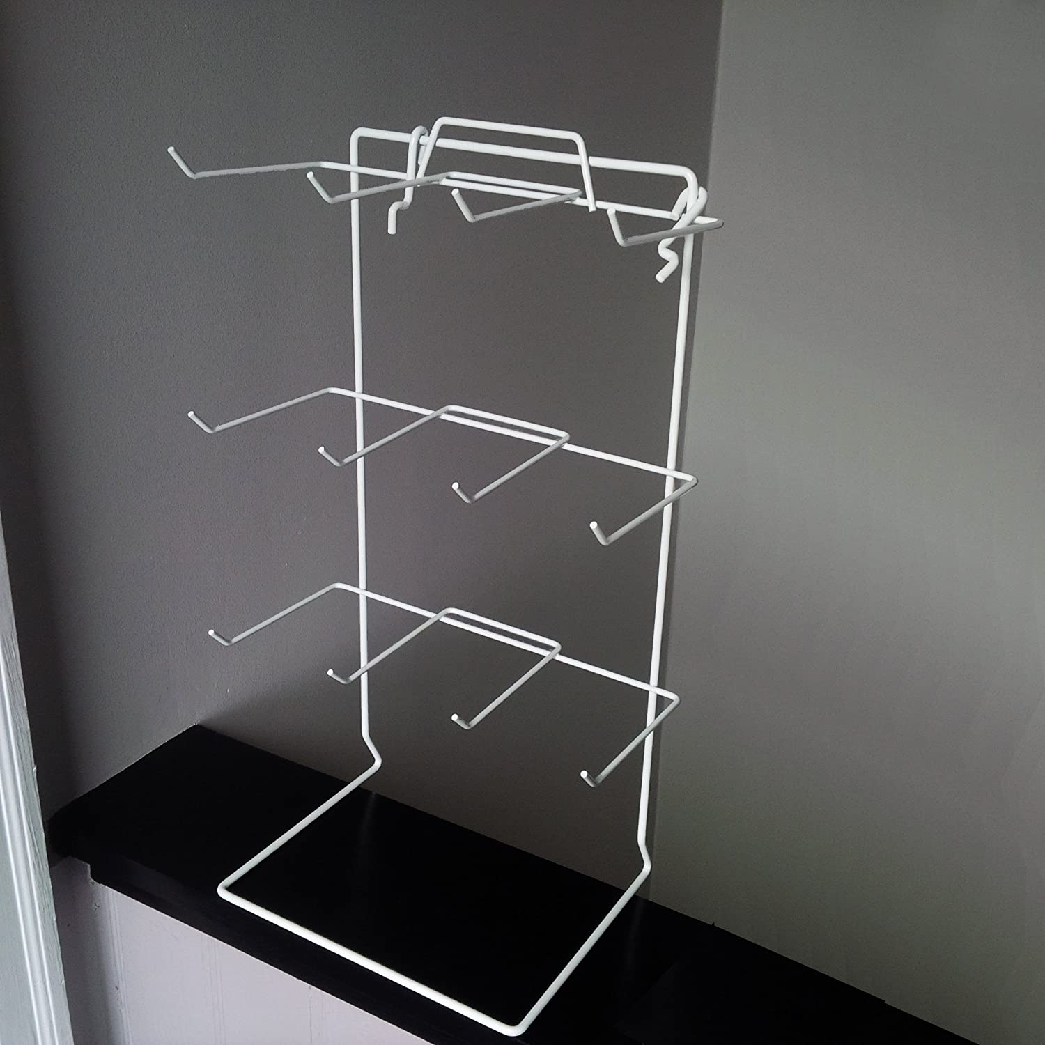 3 PCS WHITE 3-HOOK WIRE COUNTERTOP RACK KEYCHAIN DISPLAY WITH SIGN HOLDER