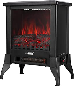 VIVOHOME 17 Inch Height Freestanding Electric Fireplace Stove Heater with Realistic 3D Dancing Flame Effect, Overheat Protection, CSA Certified, Black