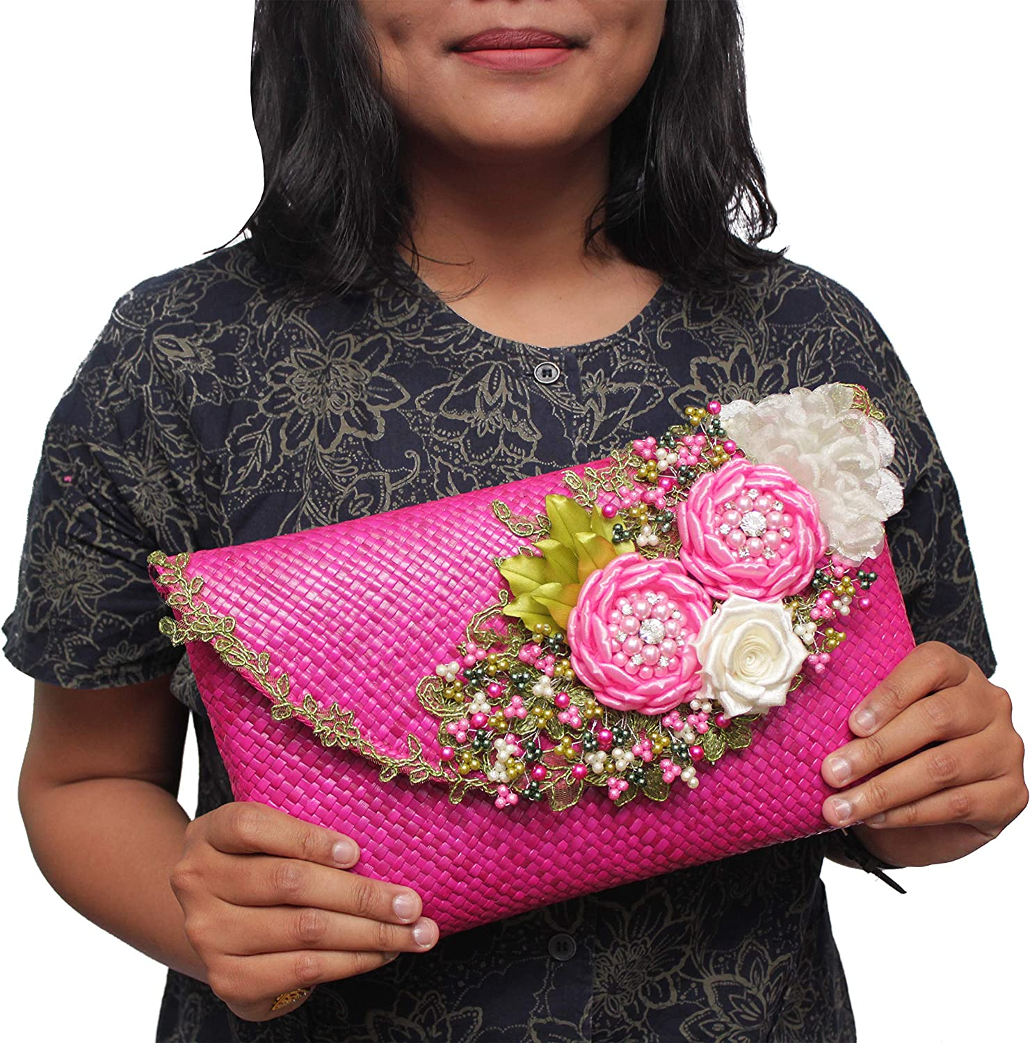 Details about  /Pandan Leaves Clutch-Bali Handmade Quilted Eco-Friendly /& Sustainable