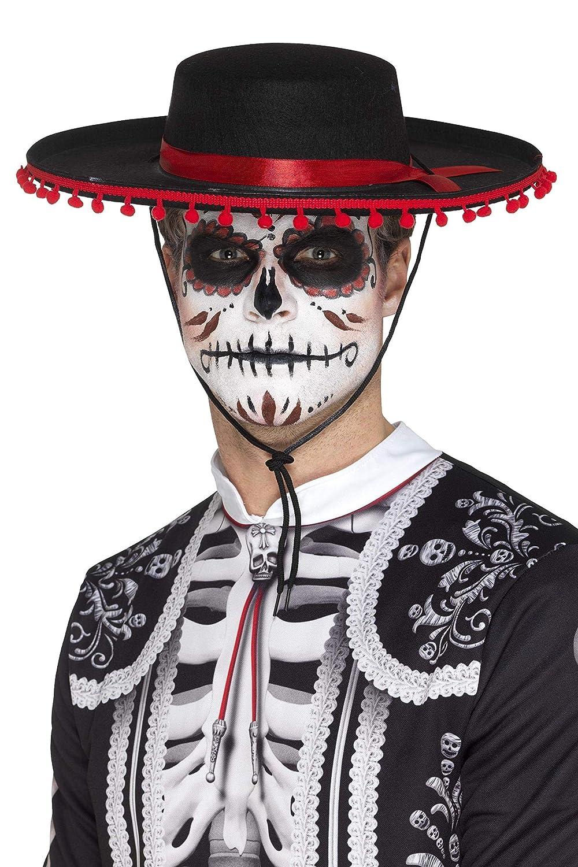 Negro + Rojo Amosfun Sombrero Mexicano Fieltro Sombrero Fiesta de Baile Sombrero de Rendimiento para el D/ía del Disfraz Muerto