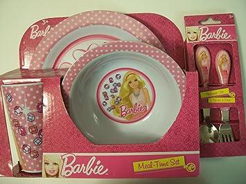 Barbie 5 Piece KCARE Dining Set ~ Plate Bowl Cup Fork Spoon  sc 1 st  Amazon.com & Amazon.com : Barbie 5 Piece KCARE Dining Set ~ Plate Bowl Cup ...