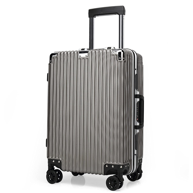 クロース(Kroeus) スーツケース TSAロック搭載 4輪ダブルキャスター 静音 大容量 フレームタイプ 軽量 人気 キャリーケース 旅行 出張 耐衝撃 取扱説明書付 B078PWLTQL S|ゴールド ゴールド S