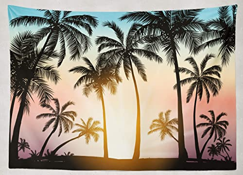 Asoco Tapestry Wall Handing With Palm Trees Silhouette Tropical Grunge Sunset Beach Palm Beach Abstract Wall Tapestry for Bedroom Living Room Tablecloth Dorm 60X80 Inches
