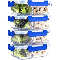 [Larger Premium 4 Set] 2 Compartment Glass Meal Prep Containers with Lifetime Lasting Snap Locking Lids Glass Food Containers BPA-Free, Microwave, Oven, Freezer and Dishwasher Safe (950 ML, 32 Oz.)