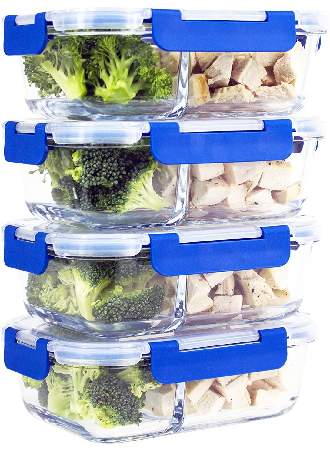 [Larger Premium 4 Set] 2 Compartment Glass Meal Prep Containers with Lifetime Lasting Snap Locking Lids Glass Food Containers BPA-Free, Microwave, Oven, Freezer and Dishwasher Safe (950 ML, 32 Oz.) Misc Home