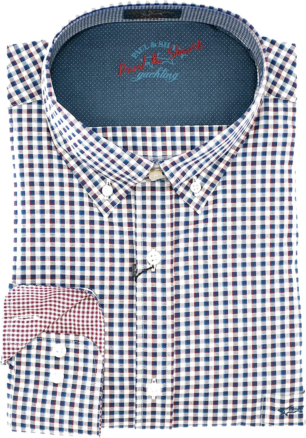 PAUL & SHARK Camisa Regular Fit BLU A Quadri 43: Amazon.es: Ropa y accesorios