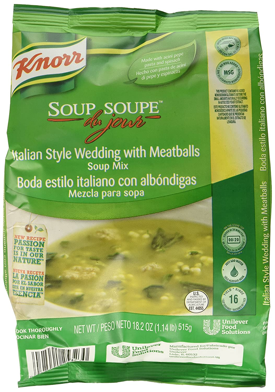 Amazon.com : Knorr Soup du Jour Mix Italian Style Wedding with Meatballs 18.2 ounces 4 count : Grocery & Gourmet Food
