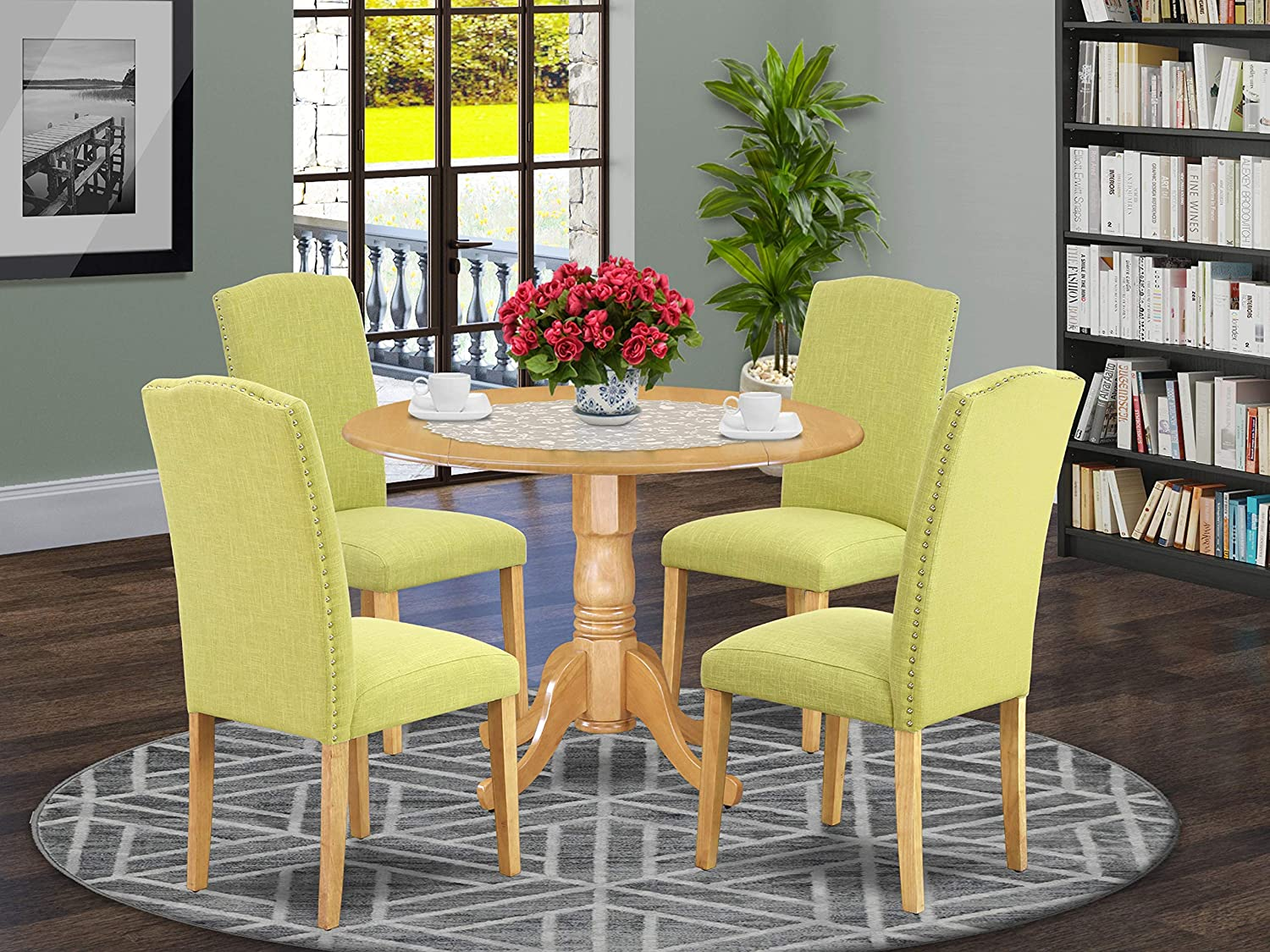 Table Chair Sets Home Kitchen Dlen3 Blk 20 3pc Round 42 Inch Dining Table With Two 9 Inch Drop Leaves And Two Parson Chair With Black Leg And Linen Fabric Dark Gotham Grey