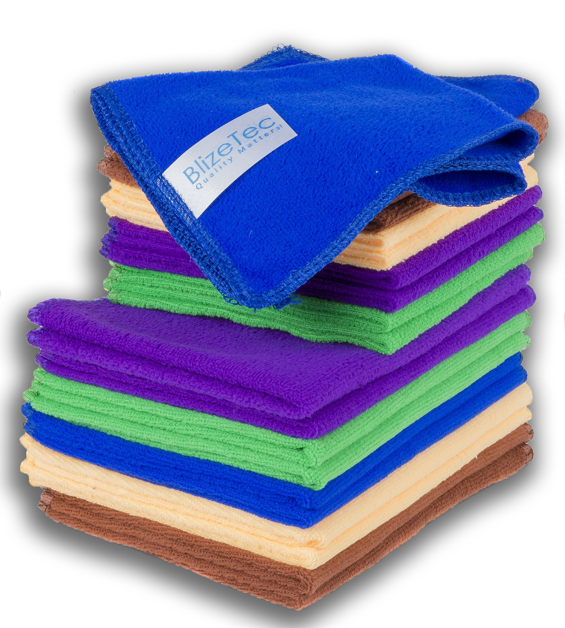 Microfiber Cleaning Cloth: BlizeTec All-Purpose Towels; 5 Color and 2 Size (20 Pack)