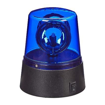 Partybeleuchtung zum Hinstellen blau Rundumleuchte mit drehendem Reflektor Relaxdays LED Blaulicht batteriebetrieben