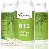 Vitamina B12 - Metilcobalamina | 1000 mcg - 365 compresse |Scorta di un anno | Con vitamina B6 e B9 (acido folico) | Assorbimento aumentato| Vegan | Per Sistema Immunitario - Energia - Prestazioni