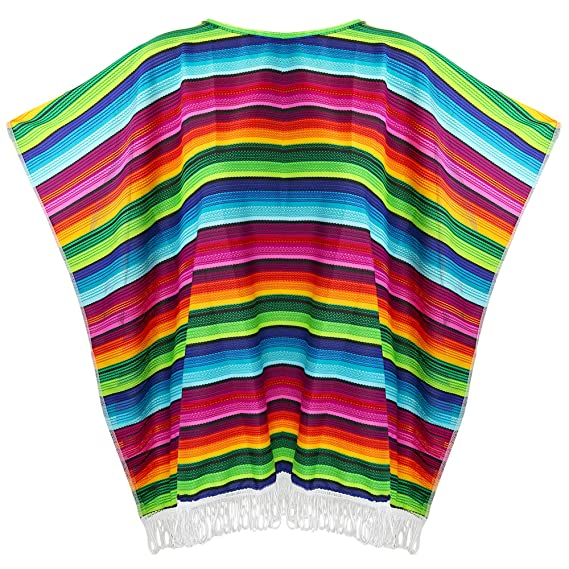 Skeleteen Mexican Serape Poncho Costume - Cinco De Mayo Mexican Fiesta Ponchos for Adults and Kids: Amazon.in: Clothing & Accessories