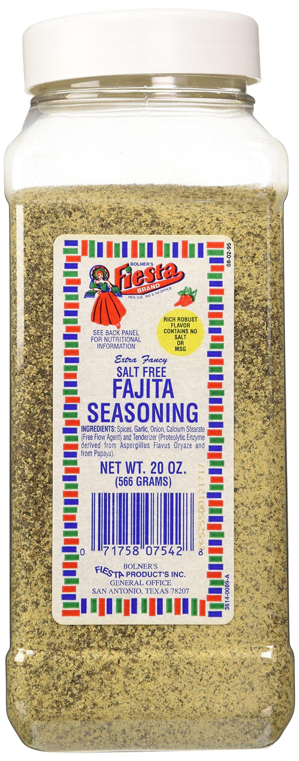 Bolner's Fiesta Extra Fancy Salt Free Fajita Seasoning, 20 Oz.