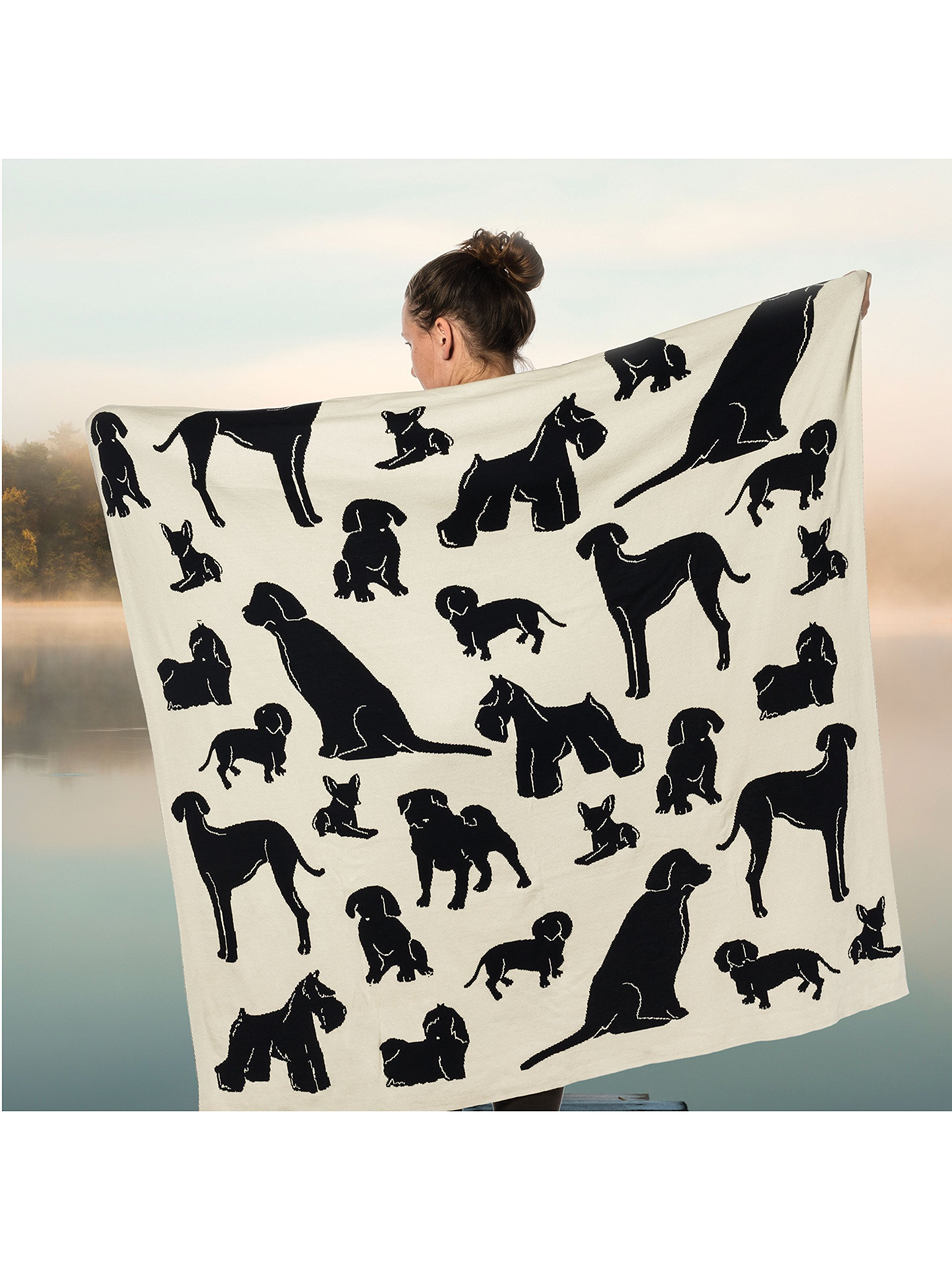 Cotton Dog Silhouette Occasional Blanket Throw 50'' X 60''