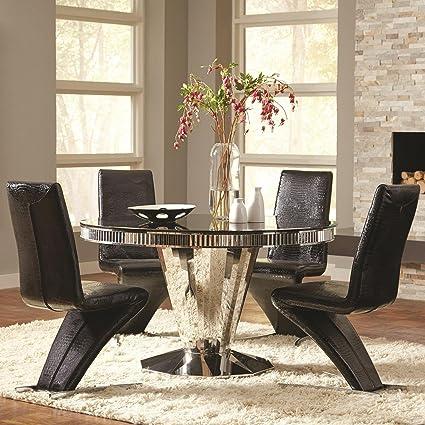 Super Amazon Com Coaster Home Furnishings Barzini 5 Piece Round Andrewgaddart Wooden Chair Designs For Living Room Andrewgaddartcom