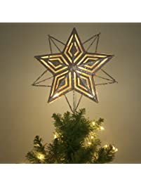 valery madelyn 11 inch pre lit elegant champagne gold christmas tree topper metal tree - Christmas Tree Tops