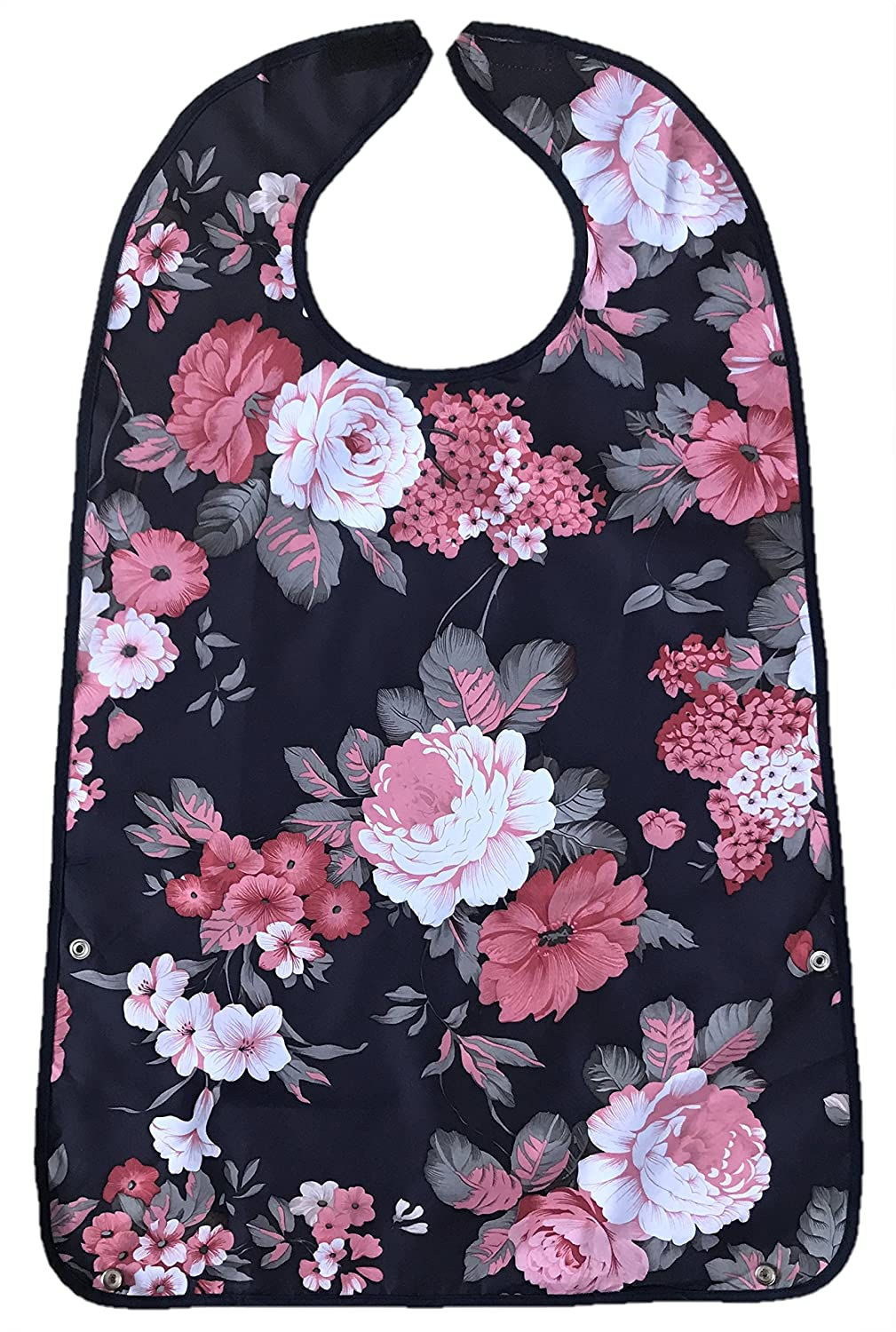 NEW ADULT BIB APRON CLOTHES PROTECTOR WIPE PVC WATERPROOF ELDERLY DINING WASHABLE PRETTY ROSES CHIC FLORAL Harrington Marley