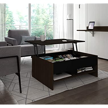 Bestar Small Space Lift-Top Coffee Table in Dark Chocolate and Black