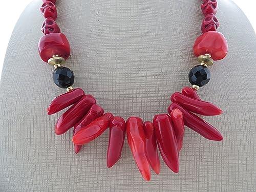50b67032ae8a Collar de coral rojo y cristal negro