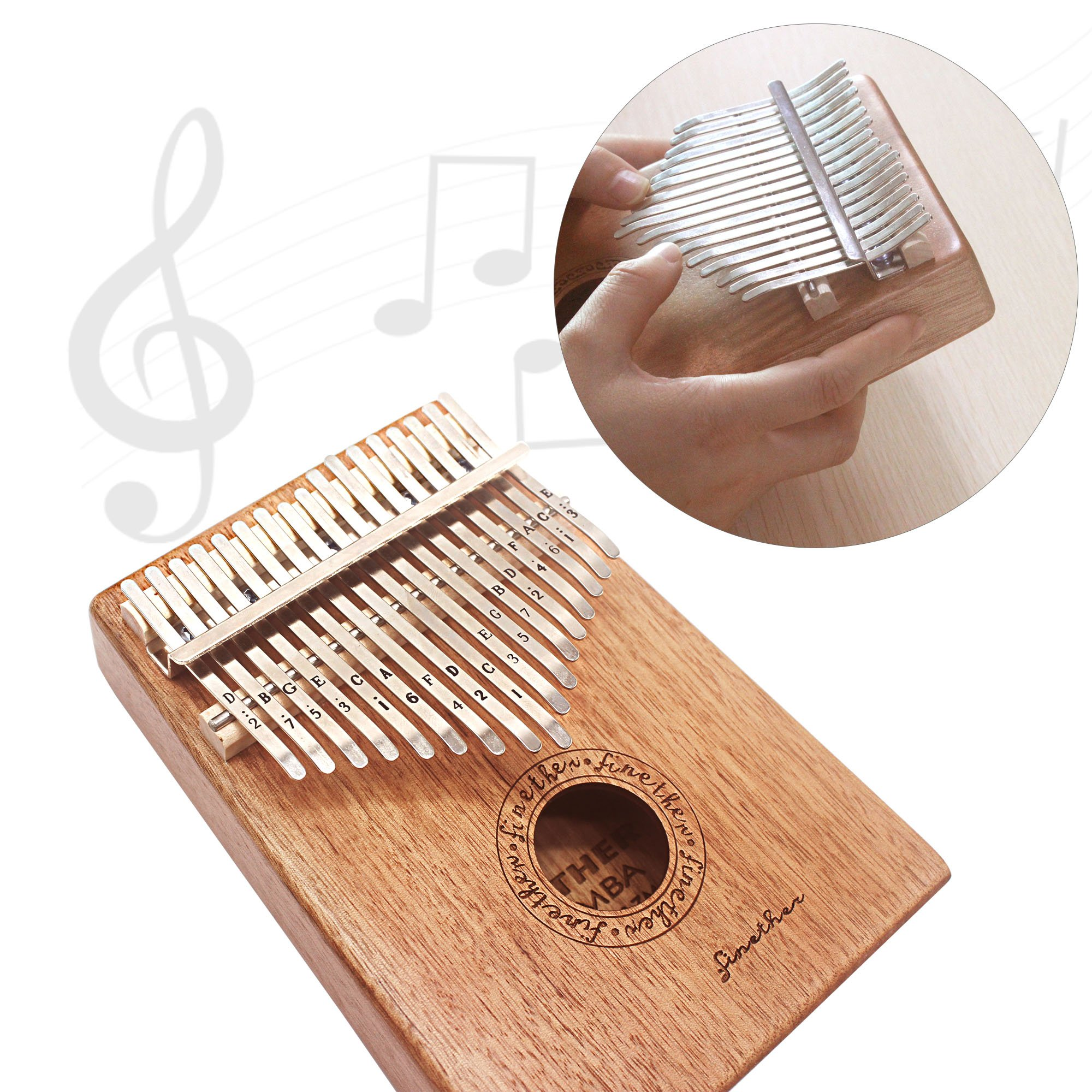 17 Keys Mahogany Kalimba Thumb Piano Wood Mbira Sanza Finger Percussion Pocket Keyboard w/Calibrating Tune Hammer for Beginners and Children (Mahogany) by AHongem (Image #4)