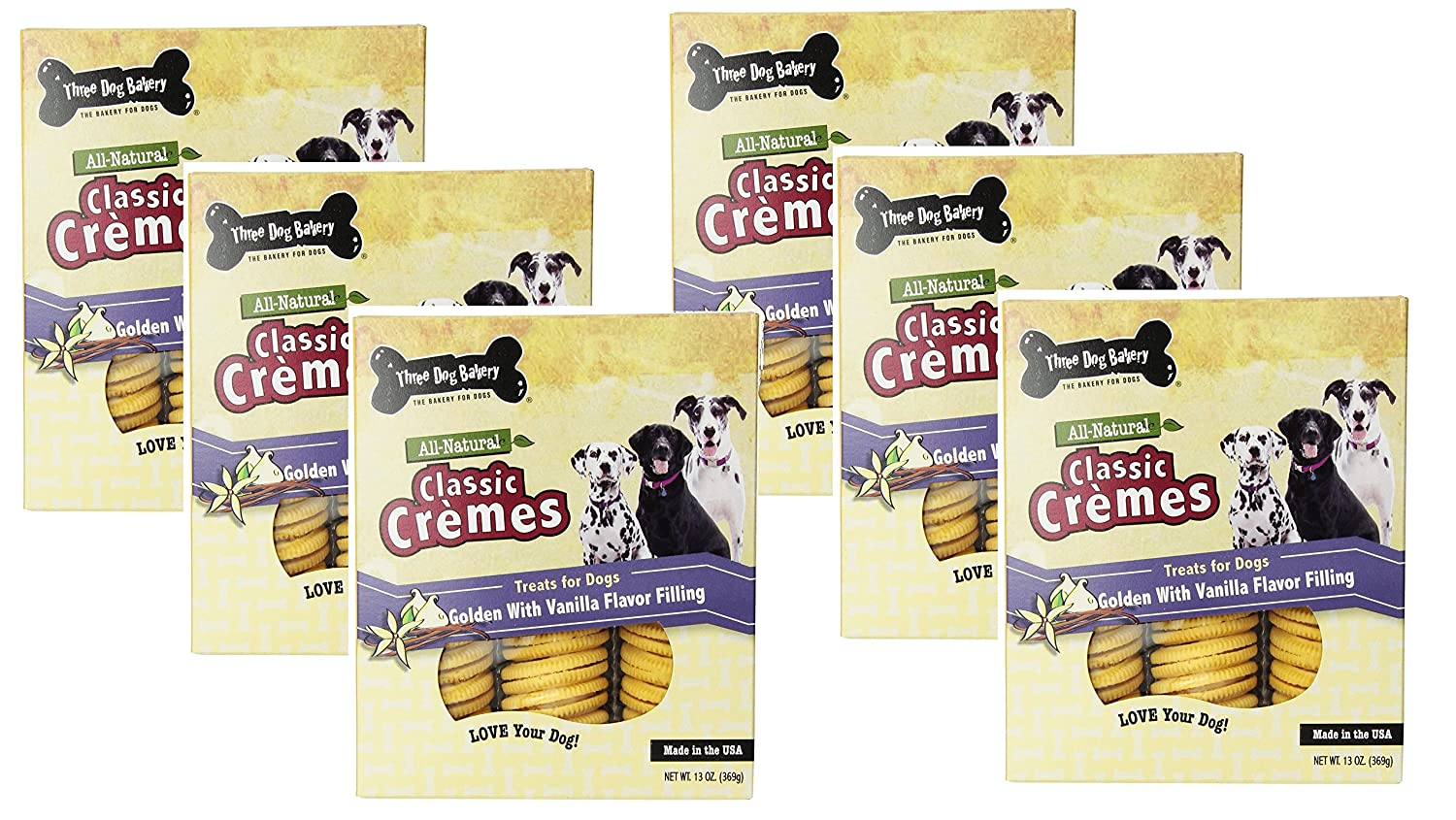 (6 Pack) Three Dog Bakery Classic Cremes golden with Vanilla Filling Baked Dog Treats 13-Ounces each