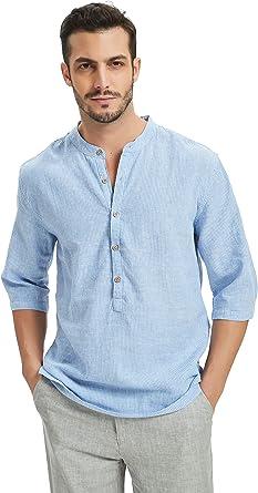 Najia Symbol Camisa 55% Lino Hombre Rayas Verticales Sin ...
